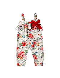 Baby Girls Overalls Jumper Floral Ruffle Red Bowknot Long Pants Bodysuit Outfit