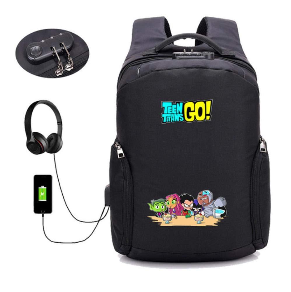 A27 GuiSoHn AntiTheft USB Charging Backpack Anime Teen Titans Go Daypack Student School Bag Teenagers Laptop Travel Rucksack