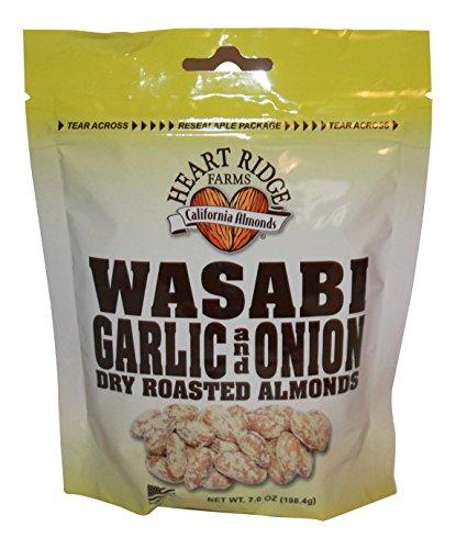 Heart Ridge Farms Gourmet Dry Roast California Almonds- 3 bags 7 ounces each (Wasabi Garlic Onion)