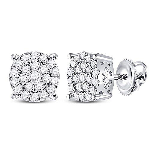 (Roy Rose Jewelry 10K White Gold Womens Round Diamond Concentric Circle Cluster Earrings 1/2-Carat tw)