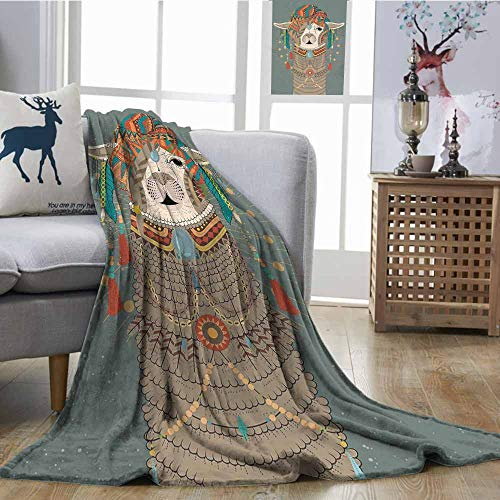 Corvette Round Earring - SONGDAYONE Home Blanket Llama Anti-Pilling Blanket Colorful Headwear Wearing Llama with Accessories Earrings Necklace Abstract Animal Multicolor W54 xL72