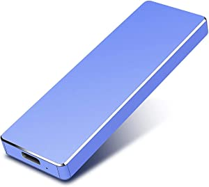 External Hard Drive Type-C USB 3.1 Portable 1TB 2TB Hard Drive External HDD Compatible for Mac Laptop and PC (2TB, Blue-a)
