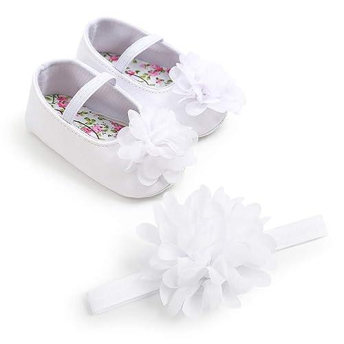 Scarpe Neonata Battesimo con Cerchietto, Bambina Fiore Scarpe Anti Scivolo Scarpe Neonata Eleganti da Cerimonia