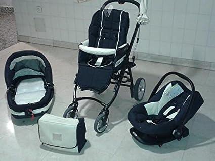 Bebecar trio completo de carrito, silla huevo accesorios (negro)-utilizado-crema
