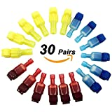 Bestgle Self-Stripping Electrical T-Tap Wire Spade Connectors of 60 Pcs/30 Pairs Quick Splice Terminals and Male Butt Terminal Crimp Kits (Yellow, Red and Blue)