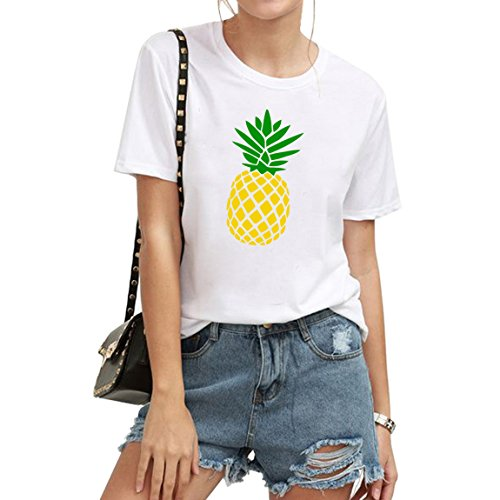 BLACKMYTH Women Cute Graphic T shirts Funny Tops pineapple Tees White -
