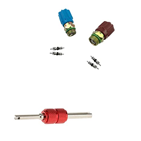 MagiDeal 7pcs Válvulas de Llenado de Aire Acondicionado + Núcleo kit + Herramienta de Reparación -