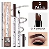 2 Pcs Tattoo Eyebrow Pen, Waterproof Microblading Eyebrow Tattoo Pencil with a Micro Fork Tip Applicator Creates Natural Looking Brows Effortlessly and Stays on All Day for Eyes Makeup