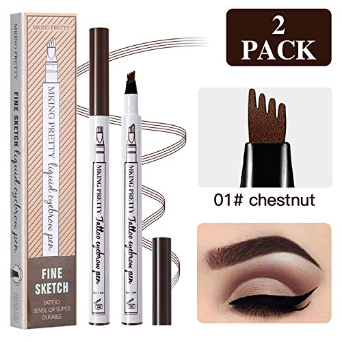 2 Pcs Tattoo Eyebrow Pen, Waterproof Microblading Eyebrow Tattoo Pencil with a Micro Fork Tip Applicator Creates Natural Looking Brows Effortlessly and Stays on All Day for Eyes ()