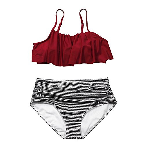 Swimwear Full American Bottom Bikini (Zando Women High Waisted Bikini Set Swimsuit Flounce Two Piece Bathing Suit for Women Beachwear Wine Red M (US Size 6-8))