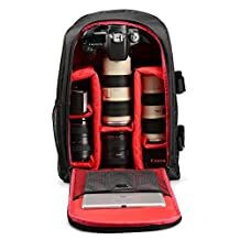 YiYiNoe DSLR Camera Backpack Bag for Lenses,Photography Accessories,Flash,Customizable Interior Storage,for 15.6 inch Laptop,Ipad,with Rain Cover Red