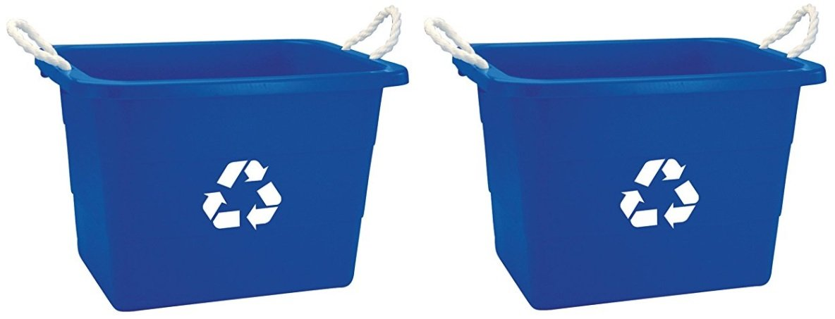 United Solutions EcoSense TU0105 Blue Nineteen Gallon Rough and Rugged Recycling Tub with Rope Handles -19 Gallon (2 Pack) Rope Handled Recycling Bin in Blue by United Solutions