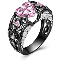Heart Shape Pink Sapphire Black Gold Wedding Jewelry Women Angel Wing Ring Gifts (6)