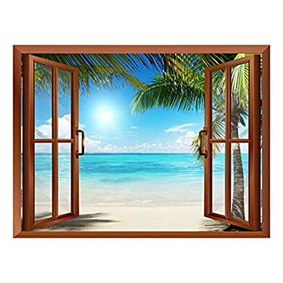 Made For You, Astonishing Portrait, Beautiful Landscape of Palm Tree on The Beach and Clear Sea View from Inside a Window Removable Wall Sticker Wall Mural