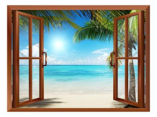 Beautiful Landscape of Palm Tree on The Beach and Clear Sea View from Inside a Window Removable Wall Sticker Wall Mural