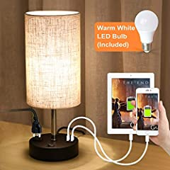 Specification  ✿Type: Table lamp ✿Material: Black Iron Base with Linen Fabric Shade ✿Base Color: Black ✿Size(L/W/H): 5.9*5.9*15.4 inches ✿Shade Color: Light Brown mixed with Cream ✿Charging Port Type: Dual 5V/2.1A USB Charging Port ✿Outlet: ...