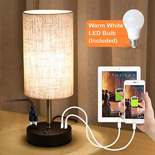 Night Table Lamp Base Light (Lifeholder USB Lamp, Table Lamp with Warm White LED Bulb, Bedside Nightstand Lamp Built in Dual USB Port & A Power Outlet, Desk Lamp Perfect for Bedroom, Living Room or Office (Round))