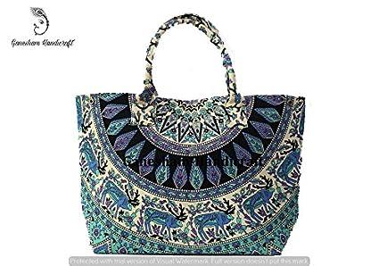adb9eaa8027d Indian Mandala Handmade Bohemian Shoulder Floral Bags hippe Tapestry  Top-Handle Cotton Handbag Tote Bag