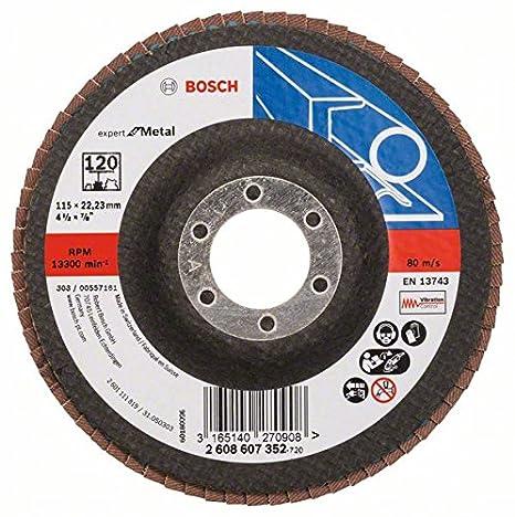 Bosch DIY Fächerschleifscheibe (für Winkelschleifer verschiedene Materialien, gerade Ausführung, Ø 115 mm, Körnung 120) 2608607352
