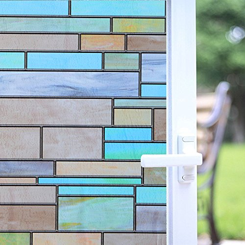 """Niviy Privacy Window Covering Brick Stained Glass Window Film Waterproof Static Window Cling, 17.7"""" by 78.7"""" No Adhesive Glass Window Decor for Bathroom/Kids Room/Sliding Door, 1 Roll"""