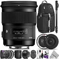 Sigma 50mm F1.4 ART DG HSM Lens for NIKON DSLR Cameras w/Sigma USB Dock & Advanced Photo and Travel Bundle