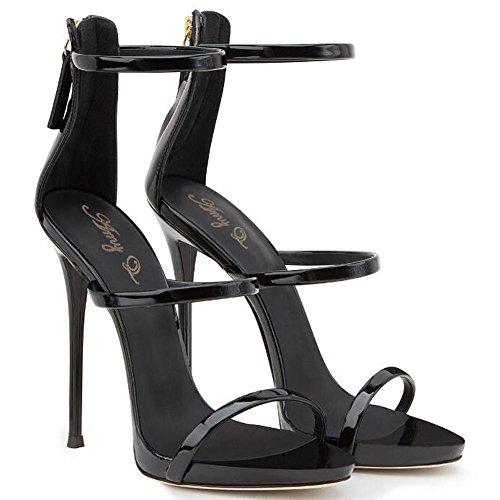 L@YC Mujeres De Verano De Tacones altos Piel Brillante Bolsa abierta Con Sandalias Vestido De Danza Vestido De La Bomba Black