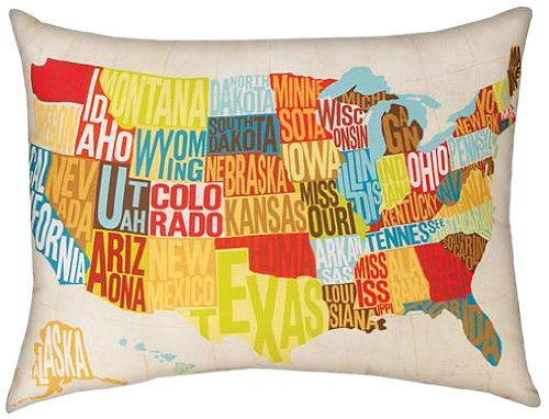 Manual Michael Mullan Indoor/Outdoor Reversible Pillow, Across The Country, 24 X 18-Inch