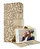 iPhone 6 Wallet Case, FLYEE iphone 6s Premium Vintage Emboss Flower Flip Wallet Shell PU Leather Magnetic Cover Skin with Detachable Wrist Strap Case for iPhone 6/6s 4.7' (Beige)