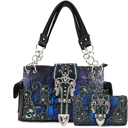 Justin West Camouflage Tree Bling Rhinestone Angel Wing Cross Shoulder Concealed Carry Handbag Purse (Blue Handbag Wallet Set)
