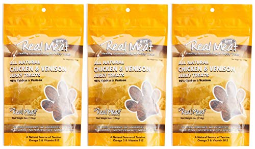 (The Real Meat Company 3 Pack of All Natural Chicken & Venison Recipe Jerky Treats for Dogs and Puppies, 4 Ounces Each )