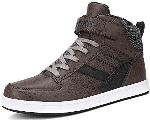 Littleplum Men's Fashion High Top Leather Street Sneakers Sports Casual Shoes from Littleplum