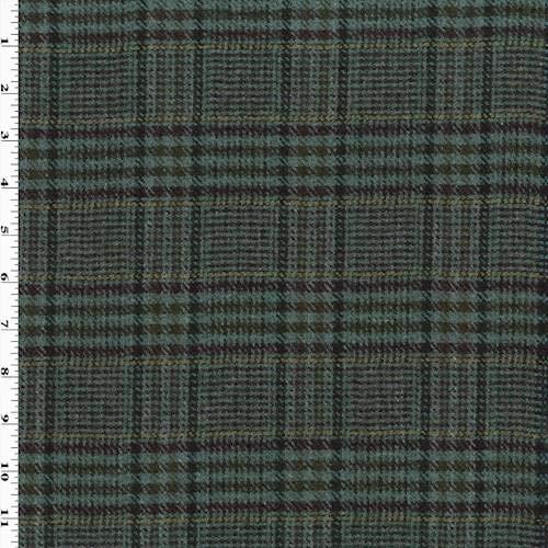 Teal/Multi Wool Plaid Flannel Jacketing, Fabric by The Yard