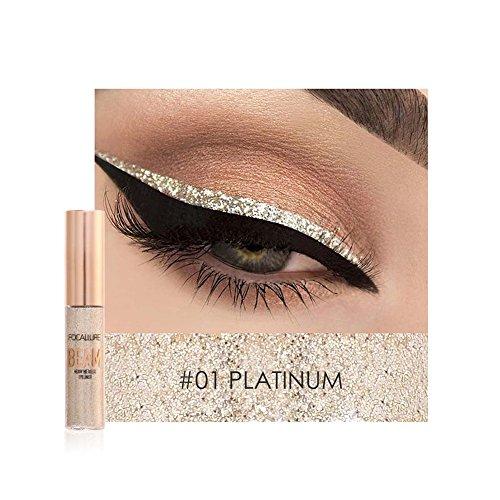 Liquid Eyeliner, Cocohot Waterproof Glitter Shimmer Eyeshadow Liquid Bling Eyeliner Highlighter Metallic Sparkling Eye Liner Liquid (A01)