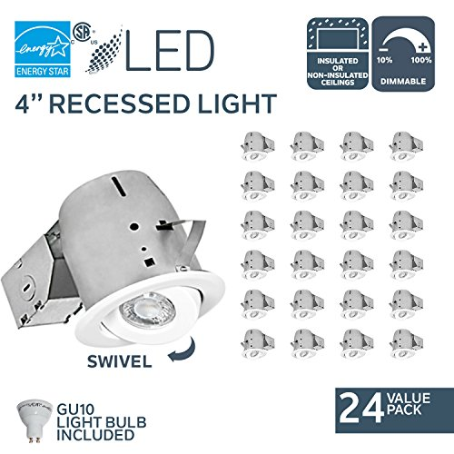 Nadair LED Recessed Lighting Kit (x24) Swivel Spotlight Dimmable Downlight-IC Rated-3000K Warm GU10 550 Lumens Bulbs (50 Watts Equivalent) Included, 4 inch, White, 24 Pack