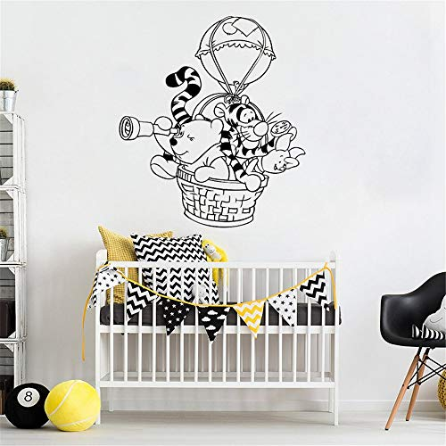 Winnie The Pooh Wall Decal Hot Air Balloon Vinyl Stickers for Kids Room Nursery Bedroom Home Decoration Waterproof Remove