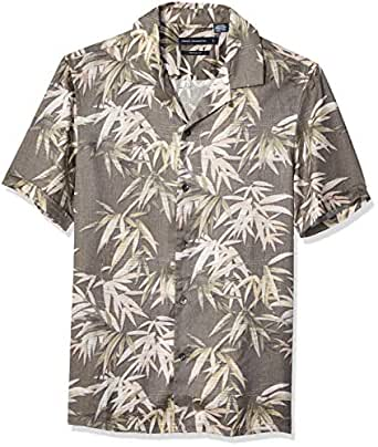 French Connection Mens Men's Short Sleeve Printed Regular Fit Button Down Shirt Short Sleeve Button Down Shirt - Brown - Small