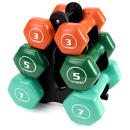 Set of 3 Pairs of Brightbells Vinyl Hex Hand Weights: Colorful, Tropical Coated Non-slip Dumbbell Free Weight Sets - Home & Gym Equipment (Strength - 3, 5, 7 lbs.)