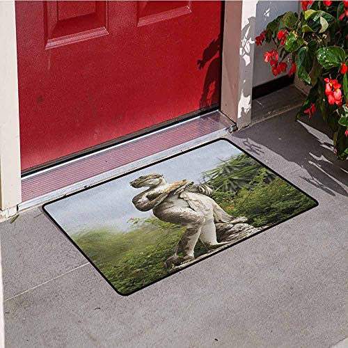 (Gloria Johnson Sculptures Universal Door mat Sculptured Figure Greenery on The Grounds of Achillion Palace Corfu Island Door mat Floor Decoration W29.5 x L39.4 Inch Green Beige)