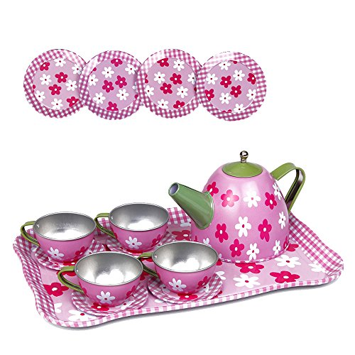 Price comparison product image Kidcia Pretend Play Toy 14 Pcs Miniature Tin Tea Set with Teapot & Tea Cups & Saucers & Plates & Tray for Kids,  Flower Tea Party Set for Girls