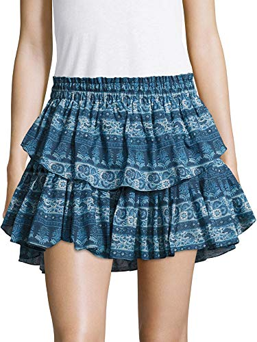 LOVESHACKFANCY Women's Tiered Ruffle Mini Skirt Small Blue Multi