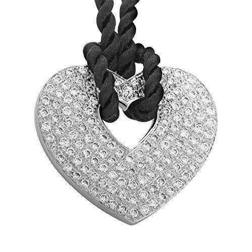 Damiani Gold Necklace - Poiray 18K White Gold Diamond Pendant & Black Cord Necklace PPC0032BLK