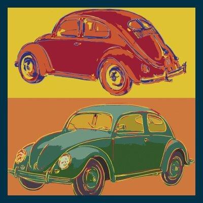 Bild mit Rahmen Rod Neer - Beetle squared - Holz blau - 50 x 50cm - Premiumqualität -  - Cult - Kinder - Comic - Pop-