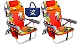 Tommy Bahama 2 Backpack Beach Chairs/Red + 1 Medium Tote Bag