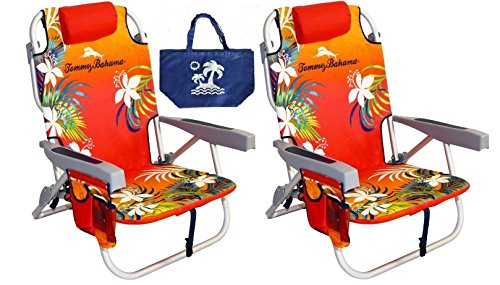 2 Tommy Bahama Backpack Beach Chairs/ Red + 1 Medium Tote Bag by Tommy Bahama