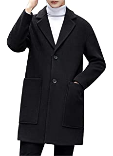 MMCP Mens Winter Slim Fit Button Down Warm Trench Pea Coat Jacket Overcoat