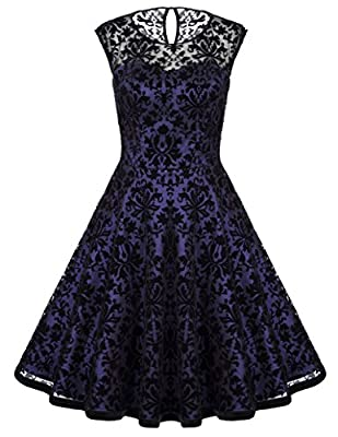 Belle Poque Women's Sleeveless Floral Lace Vintage Party Swing Dresses