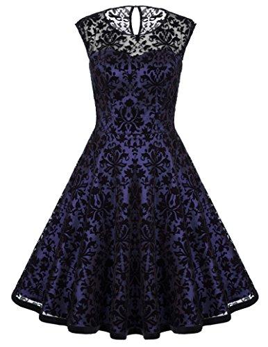 Belle Ball Dresses - Ladies Lace Vintage A-line Round Neck Ball Gown Party Dress L BP278-2