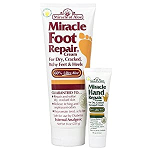 Miracle Foot Repair Cream 8 oz PLUS Miracle Hand Repair 1 oz with 60% Pure Organic Aloe Vera