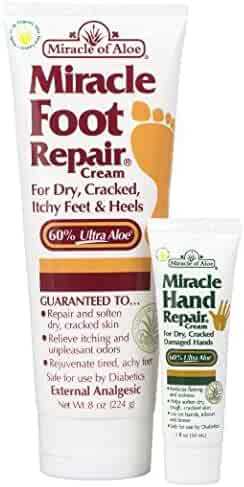 Miracle Foot Repair Cream 8 ounce tube with 60% UltraAloe plus Miracle Hand Repair 1 oz tube with 60% UltraAloe