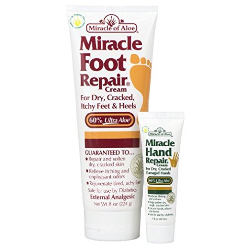 Miracle of Aloe, Miracle Foot Repair Cream with 60% UltraAloe 8 ounce tube plus Miracle Hand Repair Cream with 60% UltraAloe 1 oz tube